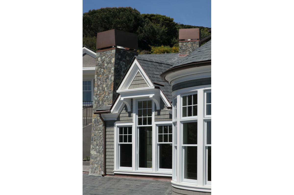 Polsky Perlstein Architects - <em>Edit New Homes Gallery</em> Tiburon Stone and Shingle Hillside Home and Guest House